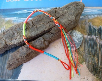 Red braided Friendship Bracelet with loop and thread colors