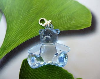 charm bear blue jelly heart lobster clasp charm