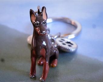 Keychain model dog Doberman very good quality enamel with tassels