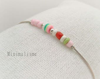 Fine bracelet with round beads and flat Ref: M014