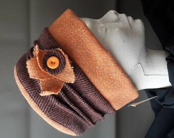 Brown and orange Hat
