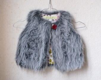 vest fur grey has internal hair flower