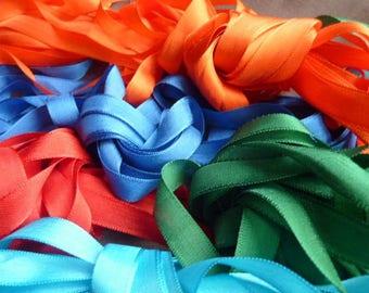 25 meter Ribbon viscose 5 colors green, red, turquoise, blue orange * 1.3 cm * France 1980