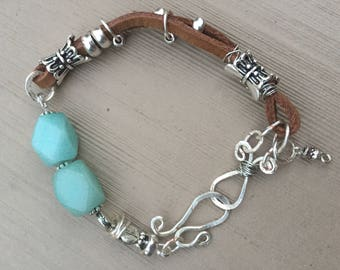 Bead and Leather Hammered Silver accent Bracelet