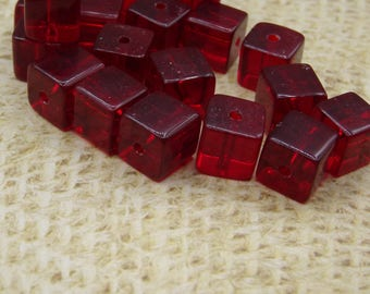 20 square handcrafted 8mm dark red glass beads