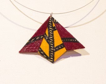 Geometric pendant in Burgundy and yellow African fabric