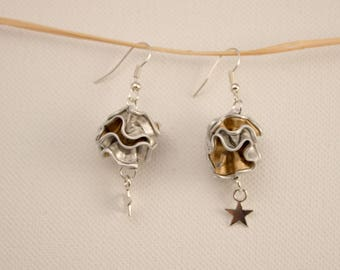 Earrings made of coffee capsules and charm