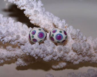"Duo dot ""fuchsia"", glass Lampwork"