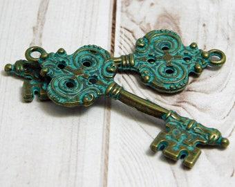 2pcs - 51x20mm - Key Pendant - Boho Pendant - Verdigris Pendant - Patina Pendant - Bronze Pendant - Victorian Key - Skeleton Key - (4370)