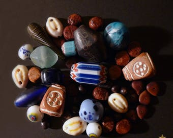 50 glass African beads, brass, wood, seed and terracotta