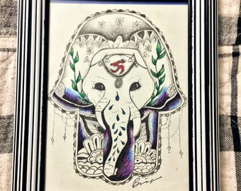 Hamsa Elephant Original Drawing