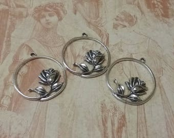 Set of 3 silver metal flower charms