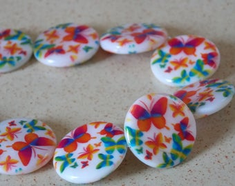 Multicolor Butterfly print Pearl round