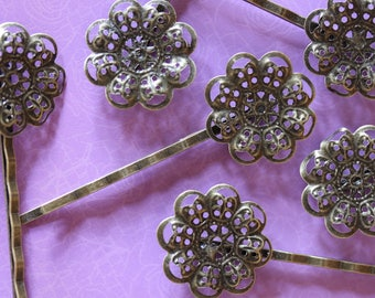 Bronze filigree flower hair clip ❤