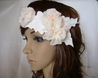painted silk ivory headband