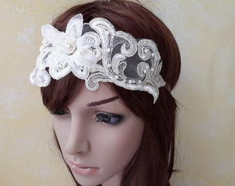Adjustable headband guipure lace