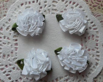 White satin flower green leaves of 3.50 cm diameter (x 4 sheets)