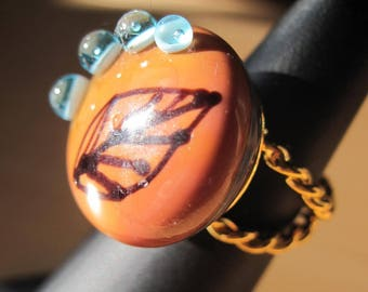 ADJUSTABLE with handmade CABOCHON ring