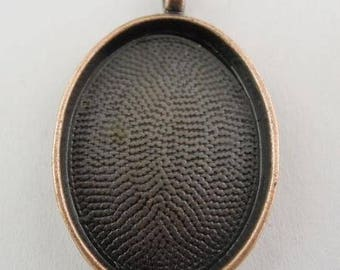 Support copper toned cabochon 30x40mm