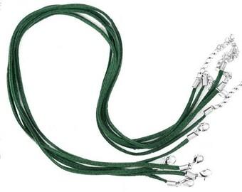 Set of 5 cords length 45 cm suede khaki green Choker