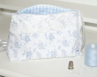 Kit toiletry makeup jewelry shabby gingham lace