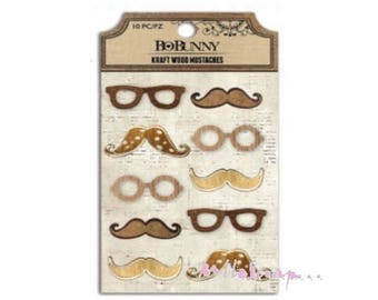 Set of 10 mustaches, glasses BO BUNNY embellishment (ref.210) scrap wood *.