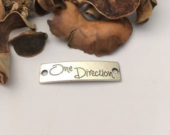 ONE DIRECTION silver rectangle shape individually engraved connector