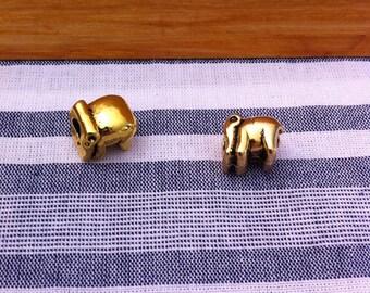 Insert elephant, antiqued gold tone, size 11 x 8 mm bead