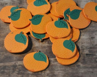 Subjects decorations wooden - Fruits - Oranges - set of 15