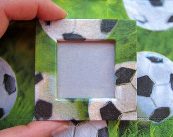 "Magnet picture frame wood - ""footballs"" - custom"