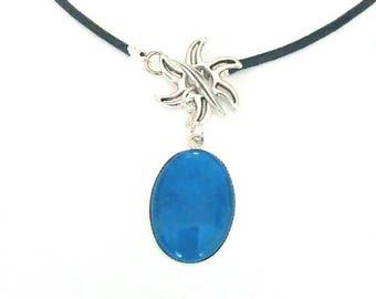 Open collar, blue starry flower cabochon