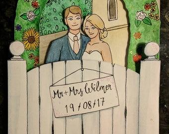 Personalised Wedding Card with Money Pocket
