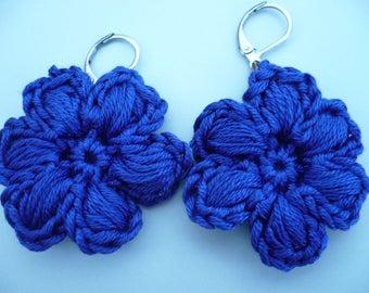 earrings, dark blue cotton crochet flower