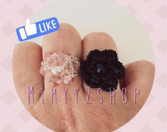 BEADED FLOWER RING NOR OR PINK TO CHOOSE