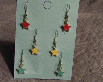 A set of three star earrings
