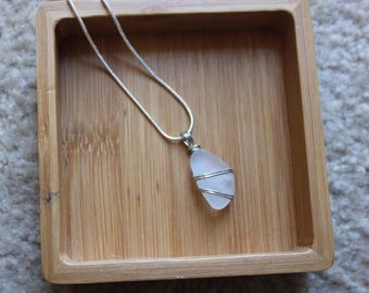 Frosted white seaglass pendant