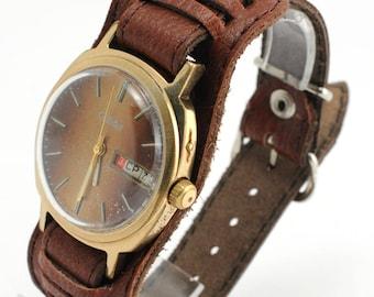 SLAVA vintage Russian Soviet Union USSR mechanical men's watch gold plated
