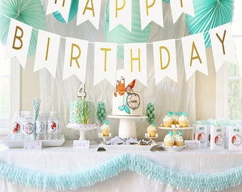 White and Gold Birthday Party Decorarations. Glitter Gold Happy Birthday Banner. Happy Birthday Banner Butterfly style, Birthday Decoration