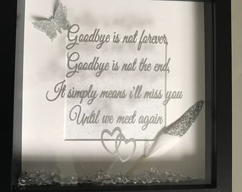 Goodbye memory with silver feather