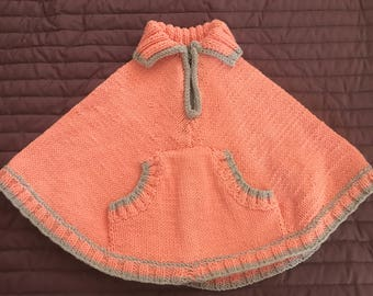 Orange and gray poncho