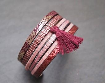 Cuff Bracelet pink and Burgundy - Cindy