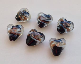2 / set of 4 black lampwork heart beads Golden glass handcrafted 14mm