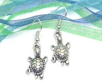 Tortoise, Turtle, Terrapin Drop / Dangle Earrings, Tibetan Silver Earrings, Gift for her, Valentines gift, Mother's day gift