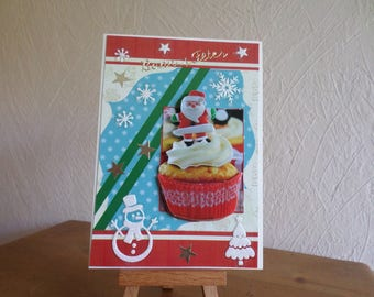 greeting card in 3D with snowman and tree