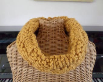 knit with a chunky wool mustard snood