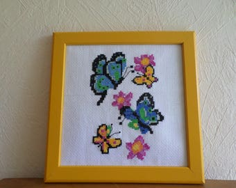 Cross: butterflies and flowers colored stitch