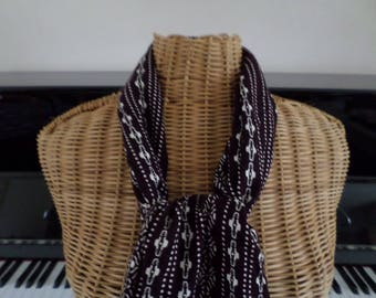scarf made with a purple and cream viscose fabric