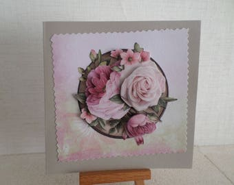 1 with roses in 3D sympathy card