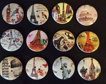 Historical Monuments wood 5 buttons