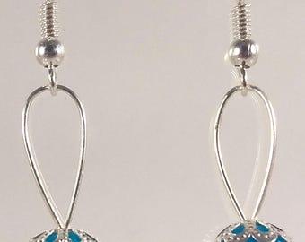 Boucles d'oreilles boule de noël bleu
